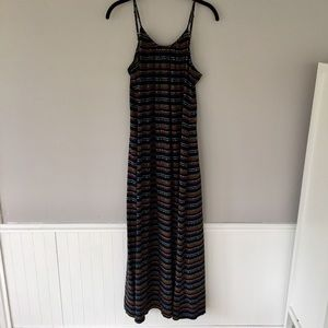 Navy Patterned Maxi Dress